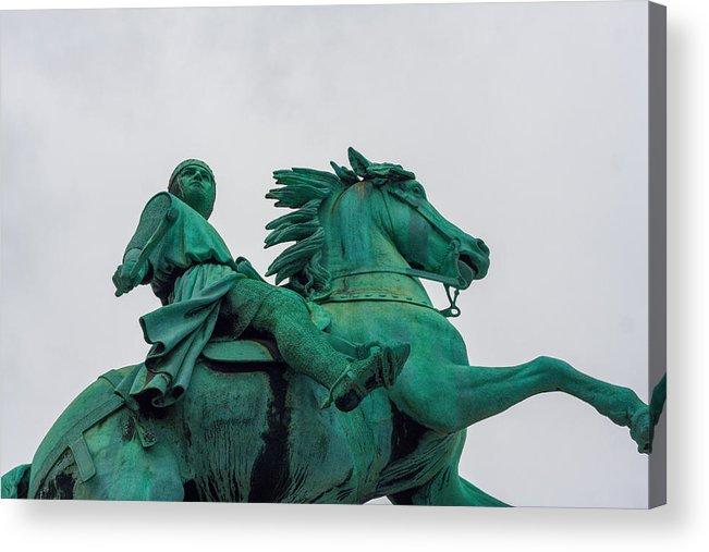 Horse Acrylic Print featuring the photograph Statue of Absalon, founder of Copenhagen, Denmark by Flottmynd