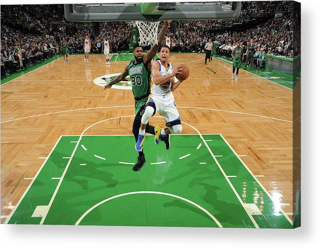 Nba Pro Basketball Acrylic Print featuring the photograph Stephen Curry and Gerald Green by Brian Babineau