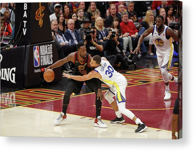 Playoffs Acrylic Print featuring the photograph Stephen Curry and Jeff Green by Mark Blinch