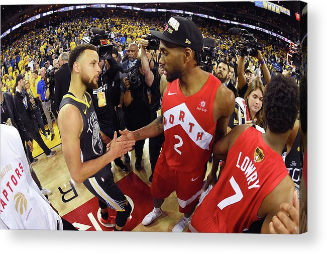 Playoffs Acrylic Print featuring the photograph Stephen Curry and Kawhi Leonard by Andrew D. Bernstein