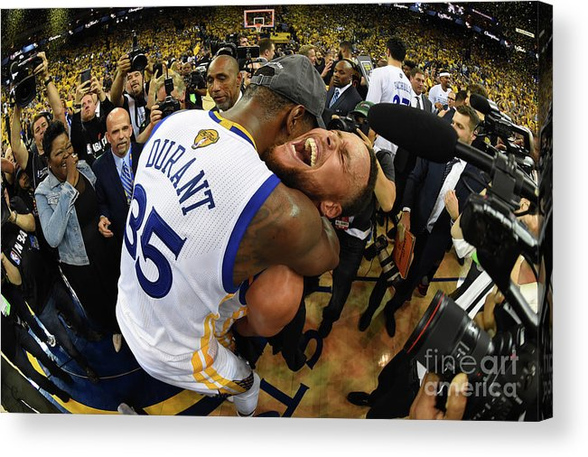 Playoffs Acrylic Print featuring the photograph Stephen Curry and Kevin Durant by Andrew D. Bernstein