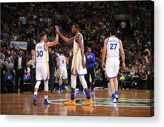 Nba Pro Basketball Acrylic Print featuring the photograph Stephen Curry and Kevin Durant by Brian Babineau
