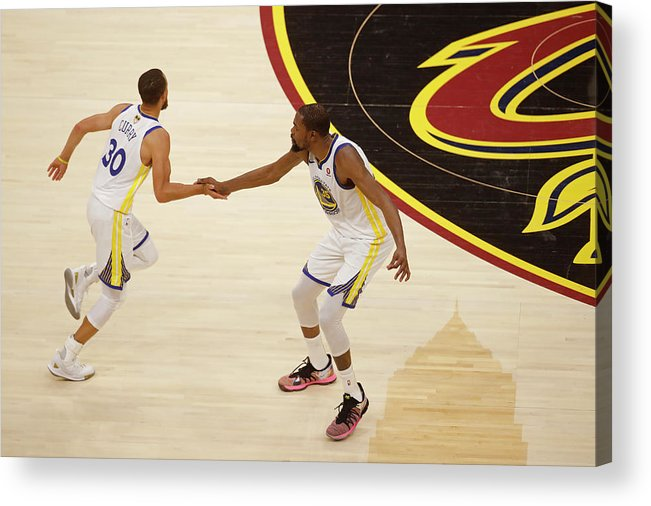 Playoffs Acrylic Print featuring the photograph Stephen Curry and Kevin Durant by Mark Blinch