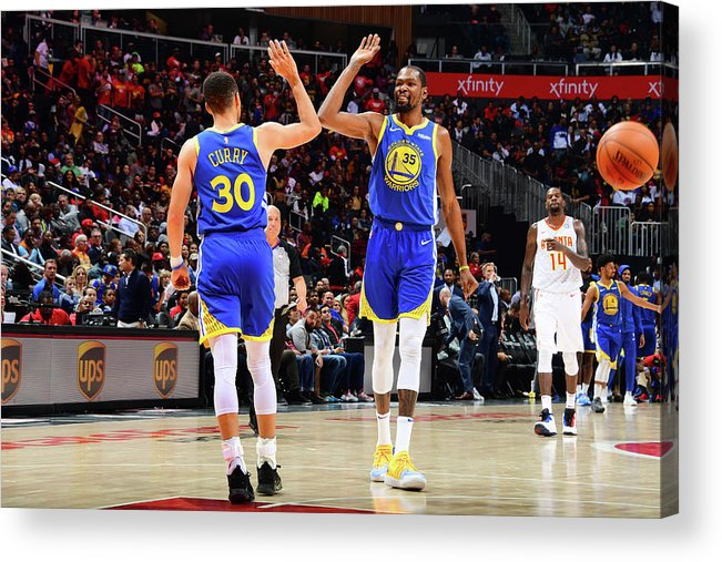 Atlanta Acrylic Print featuring the photograph Stephen Curry and Kevin Durant by Scott Cunningham