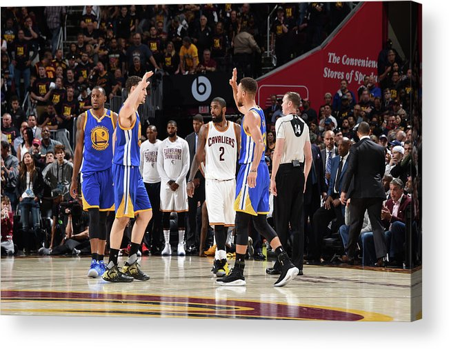 Playoffs Acrylic Print featuring the photograph Stephen Curry and Klay Thompson by Andrew D. Bernstein