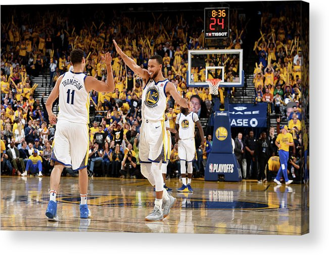 Playoffs Acrylic Print featuring the photograph Stephen Curry and Klay Thompson by Garrett Ellwood
