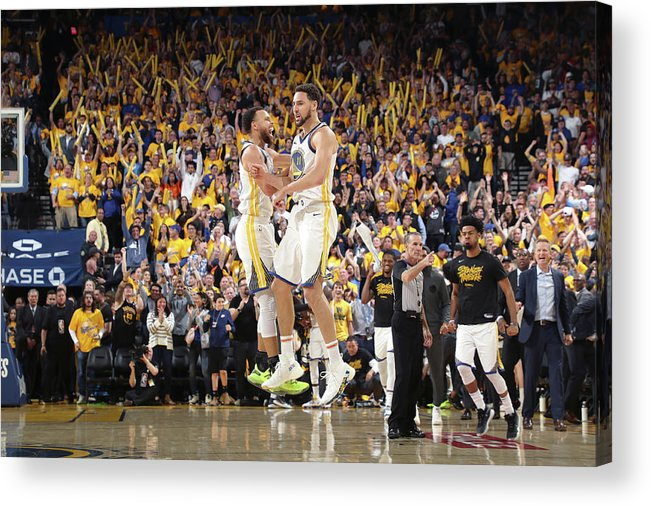 Playoffs Acrylic Print featuring the photograph Stephen Curry and Klay Thompson by Joe Murphy