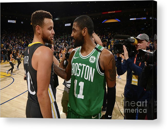 Nba Pro Basketball Acrylic Print featuring the photograph Stephen Curry and Kyrie Irving by Noah Graham