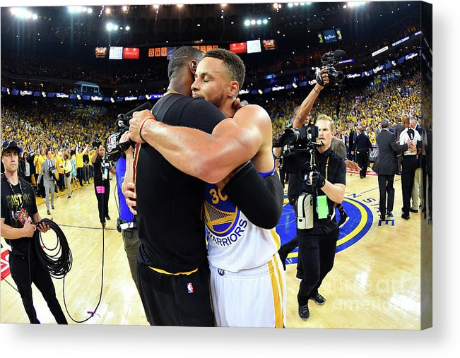 Playoffs Acrylic Print featuring the photograph Stephen Curry and Lebron James by Jesse D. Garrabrant