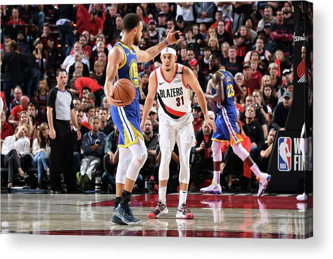 Nba Pro Basketball Acrylic Print featuring the photograph Stephen Curry and Seth Curry by Andrew D. Bernstein