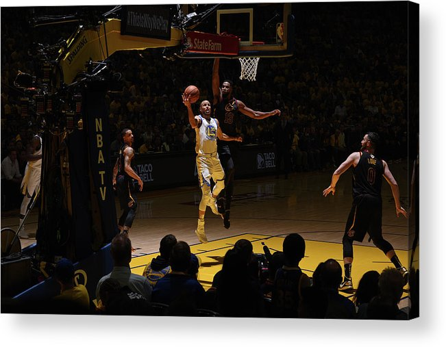 Playoffs Acrylic Print featuring the photograph Stephen Curry and Tristan Thompson by Garrett Ellwood