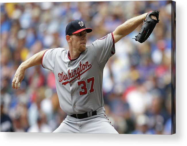 Stephen Strasburg Acrylic Print featuring the photograph Stephen Strasburg by Mike Mcginnis