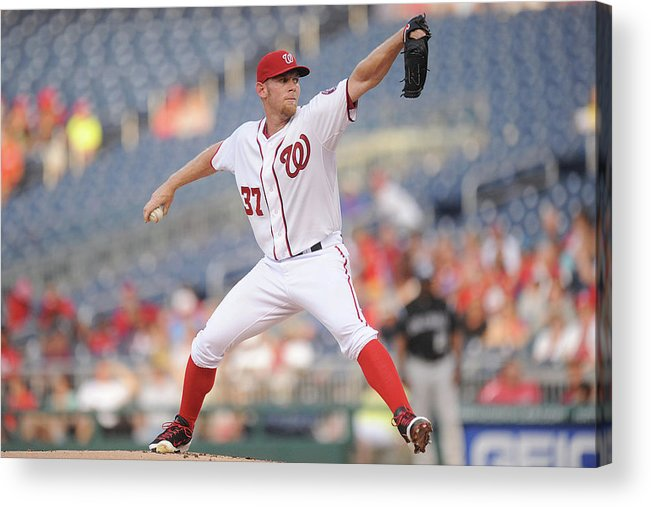 Stephen Strasburg Acrylic Print featuring the photograph Stephen Strasburg by Mitchell Layton