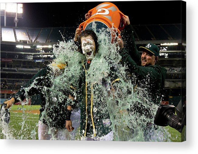 Three Quarter Length Acrylic Print featuring the photograph Stephen Vogt, Josh Reddick, and Billy Butler by Jason O. Watson