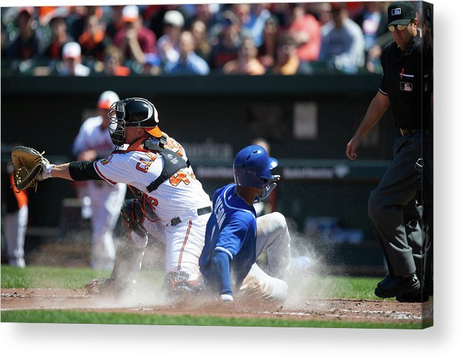 American League Baseball Acrylic Print featuring the photograph Steve Clevenger and Jarrod Dyson by Rob Tringali