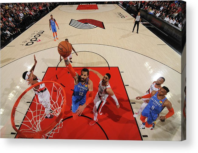 Playoffs Acrylic Print featuring the photograph Steven Adams and Enes Kanter by Cameron Browne