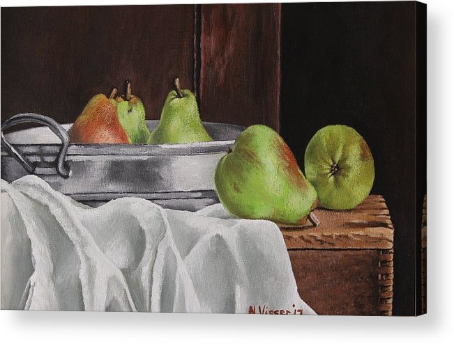 Still Life Acrylic Print featuring the painting Still life with pears by Nellie Visser