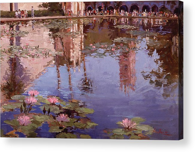 Water Lily Paintings Acrylic Print featuring the painting Sunday Reflections - Balboa Park by Betty Jean Billups