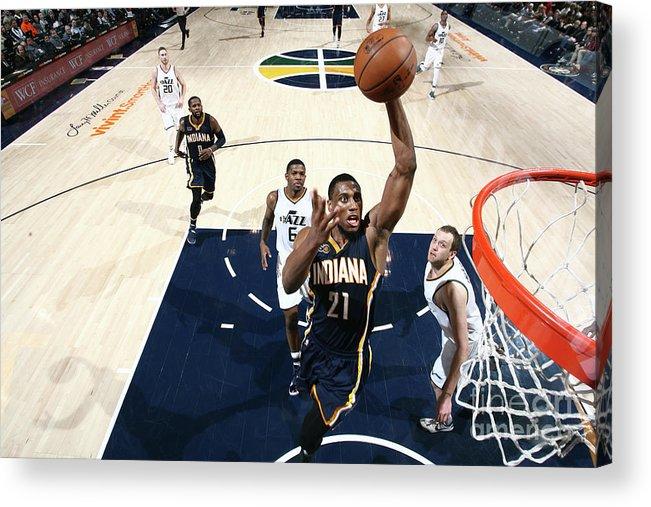 Nba Pro Basketball Acrylic Print featuring the photograph Thaddeus Young by Melissa Majchrzak