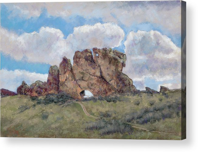 Hiking In Loveland Colorado Acrylic Print featuring the pastel The Devil's Backbone by Billie Colson