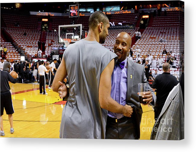 Playoffs Acrylic Print featuring the photograph Tim Duncan and Bruce Bowen by Noah Graham