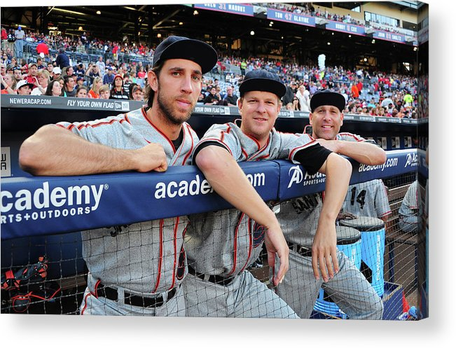 Atlanta Acrylic Print featuring the photograph Tim Hudson and Matt Cain by Scott Cunningham