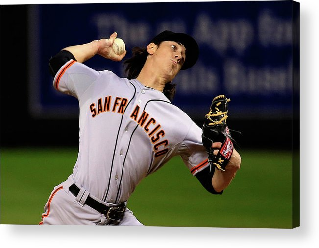 Game Two Acrylic Print featuring the photograph Tim Lincecum by Jamie Squire