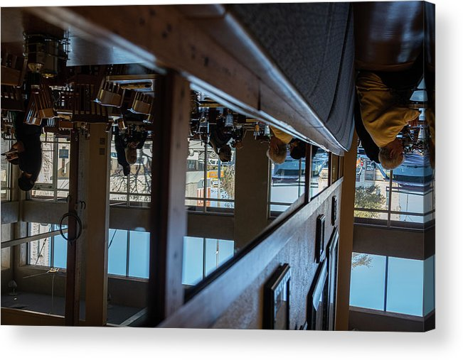 Reflections Eating Diner Food Mirror People Upside Down Acrylic Print featuring the photograph Tnarautser by Peyton Vaughn