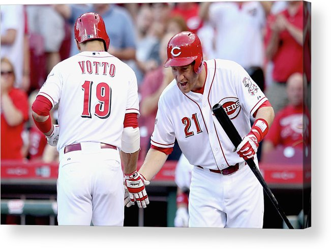 Great American Ball Park Acrylic Print featuring the photograph Todd Frazier and Joey Votto by Andy Lyons