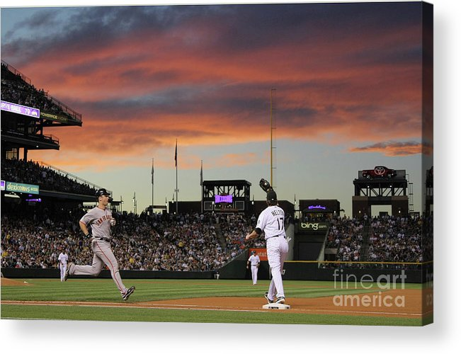 Todd Helton Acrylic Print featuring the photograph Todd Helton and Buster Posey by Doug Pensinger