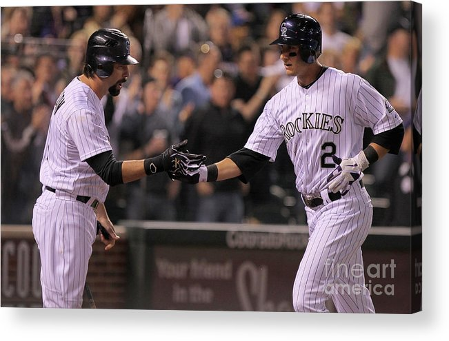People Acrylic Print featuring the photograph Todd Helton, Clayton Kershaw, and Troy Tulowitzki by Doug Pensinger