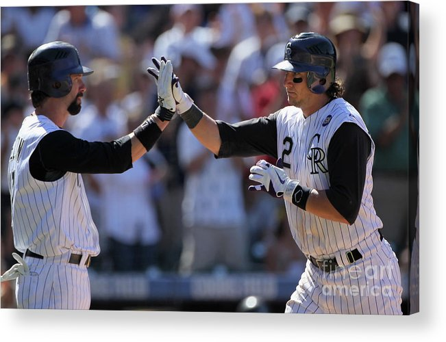 People Acrylic Print featuring the photograph Todd Helton, Troy Tulowitzki, and Bill Bray by Doug Pensinger