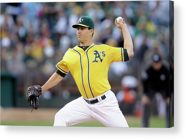 American League Baseball Acrylic Print featuring the photograph Tommy Milone by Ezra Shaw