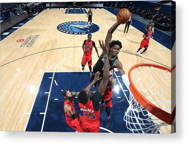 Nba Pro Basketball Acrylic Print featuring the photograph Toronto Raptors v Minnesota Timberwolves by David Sherman