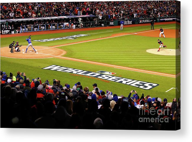 Game Two Acrylic Print featuring the photograph Trevor Bauer and Dexter Fowler by Gregory Shamus