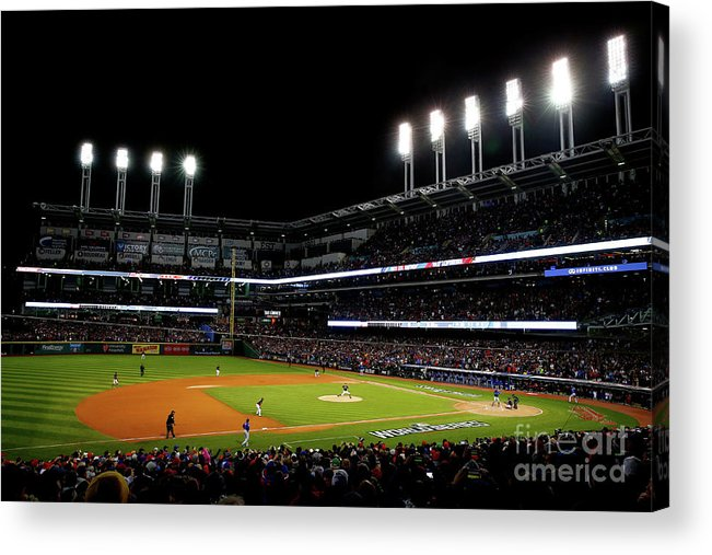 Game Two Acrylic Print featuring the photograph Trevor Bauer and Dexter Fowler by Jamie Squire