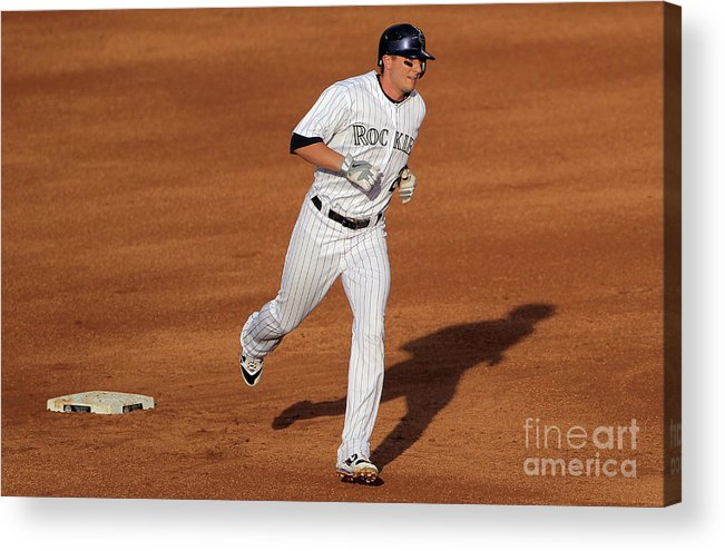People Acrylic Print featuring the photograph Troy Tulowitzki and Chad Billingsley by Doug Pensinger
