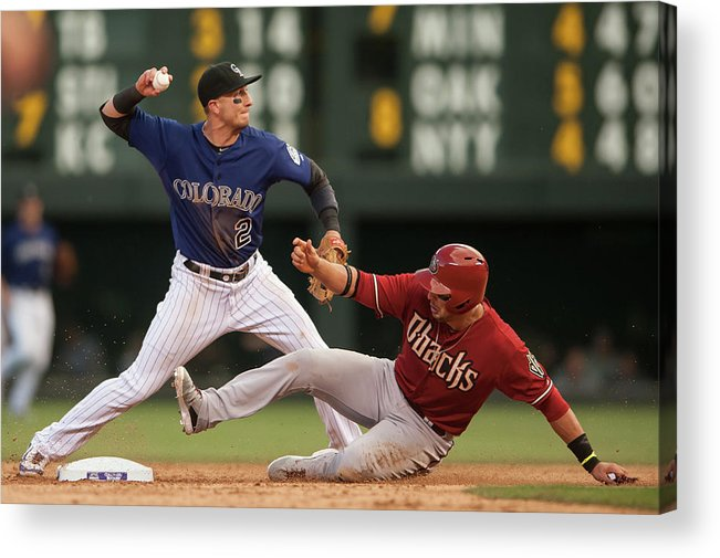 Double Play Acrylic Print featuring the photograph Troy Tulowitzki and Martin Prado by Dustin Bradford