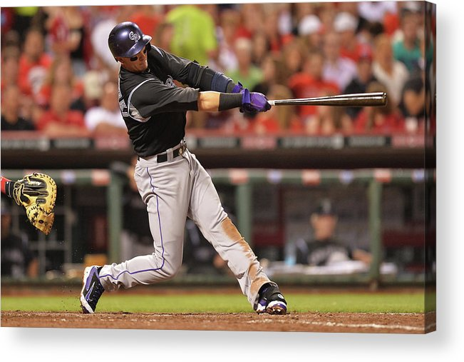 Great American Ball Park Acrylic Print featuring the photograph Troy Tulowitzki by Jamie Sabau