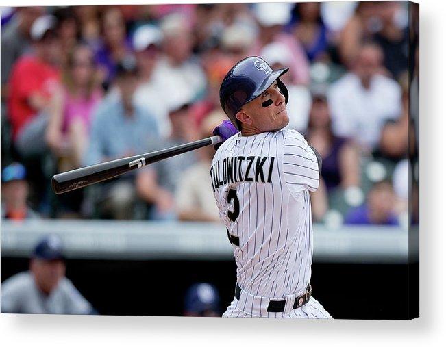 National League Baseball Acrylic Print featuring the photograph Troy Tulowitzki by Justin Edmonds