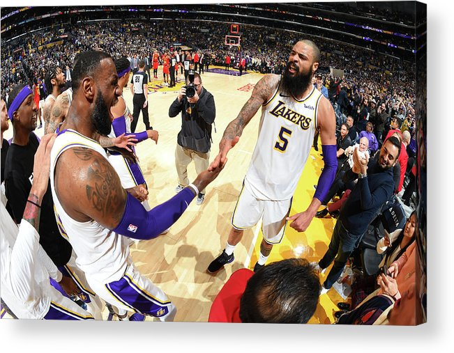 Nba Pro Basketball Acrylic Print featuring the photograph Tyson Chandler and Lebron James by Andrew D. Bernstein