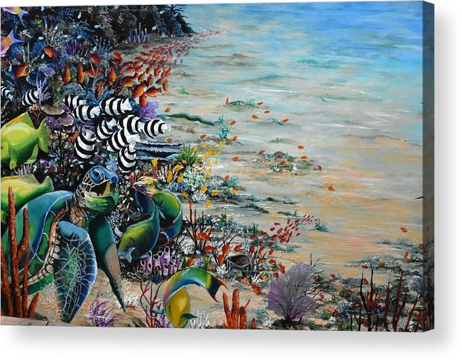 Sea Turtle Acrylic Print featuring the painting Under Da Sea by Karin Dawn Kelshall- Best