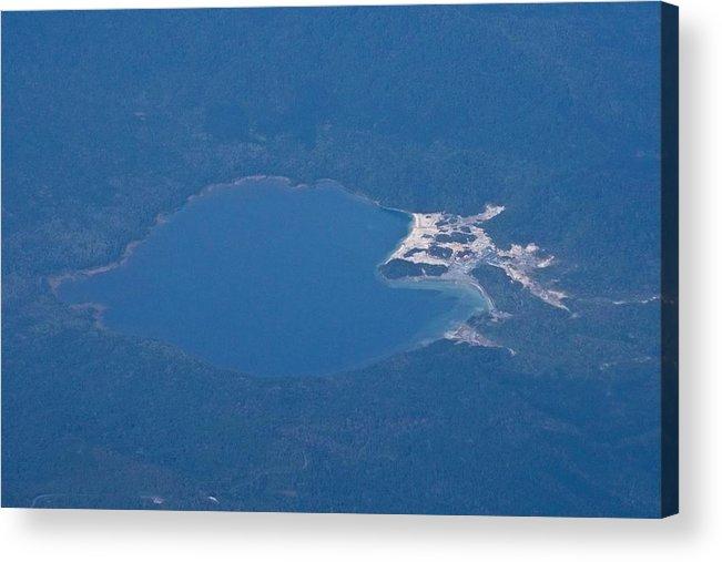 Aomori Prefecture Acrylic Print featuring the photograph Usori lake and Mount Osore daytime aerial view from airplane by Taro Hama @ e-kamakura
