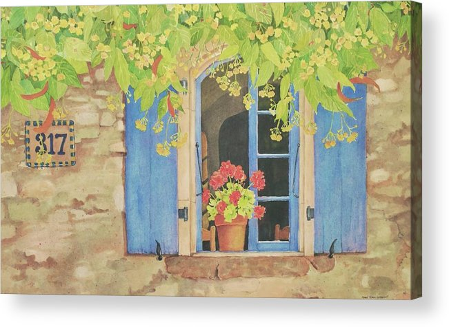 France Acrylic Print featuring the painting Vacation Memory by Mary Ellen Mueller Legault