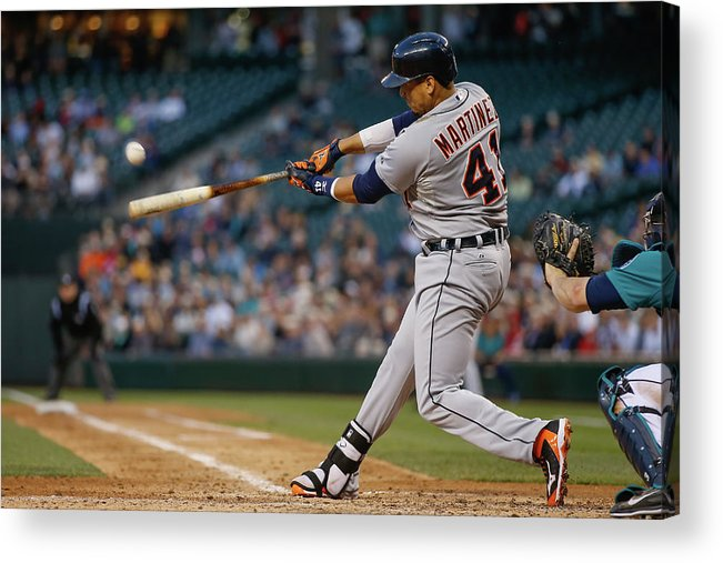 American League Baseball Acrylic Print featuring the photograph Victor Martinez by Otto Greule Jr
