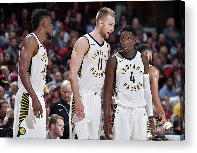 Nba Pro Basketball Acrylic Print featuring the photograph Victor Oladipo and Domantas Sabonis by David Liam Kyle