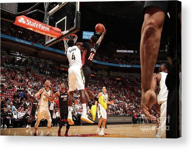Nba Pro Basketball Acrylic Print featuring the photograph Victor Oladipo and James Johnson by Issac Baldizon