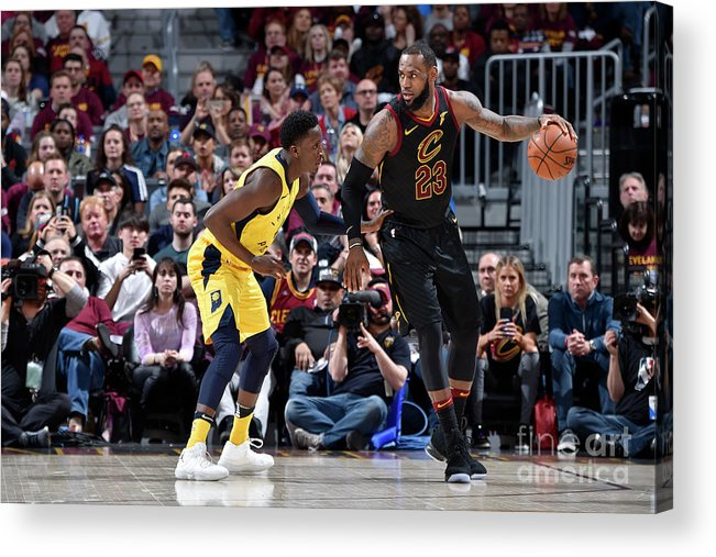 Playoffs Acrylic Print featuring the photograph Victor Oladipo and Lebron James by David Liam Kyle
