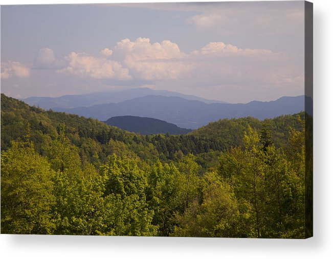 Tranquility Acrylic Print featuring the photograph View From German War Cemetery, Futa Pass Italy by Caroyl La Barge