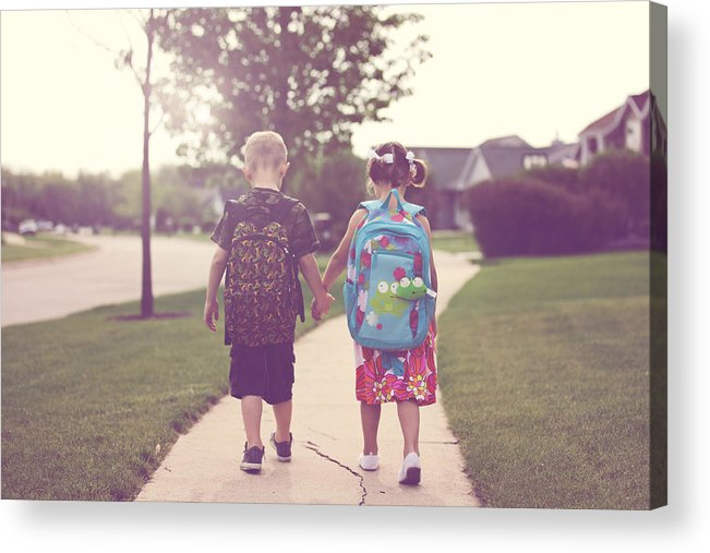 4-5 Years Acrylic Print featuring the photograph Walking to school by Rebecca Nelson